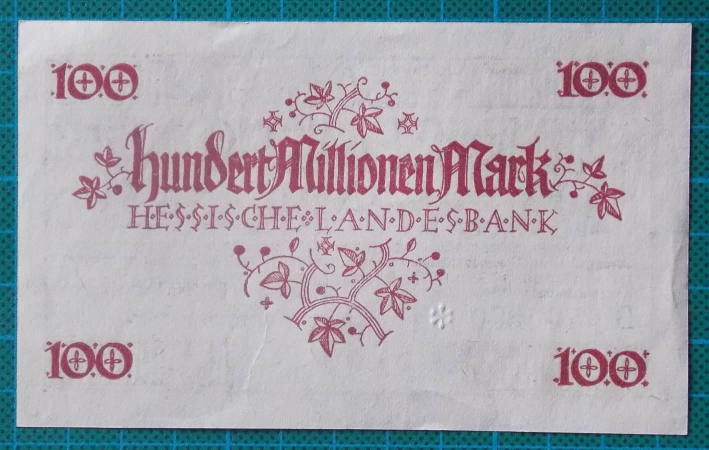 1923 HESSISCHE LANDESBANK 100 MILLION MARK B744270