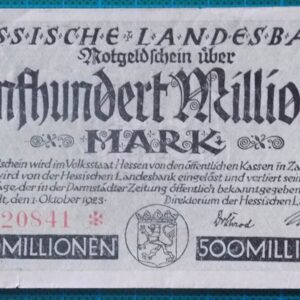 1923 HESSISCHE LANDESBANK 500 MILLION MARK A620841