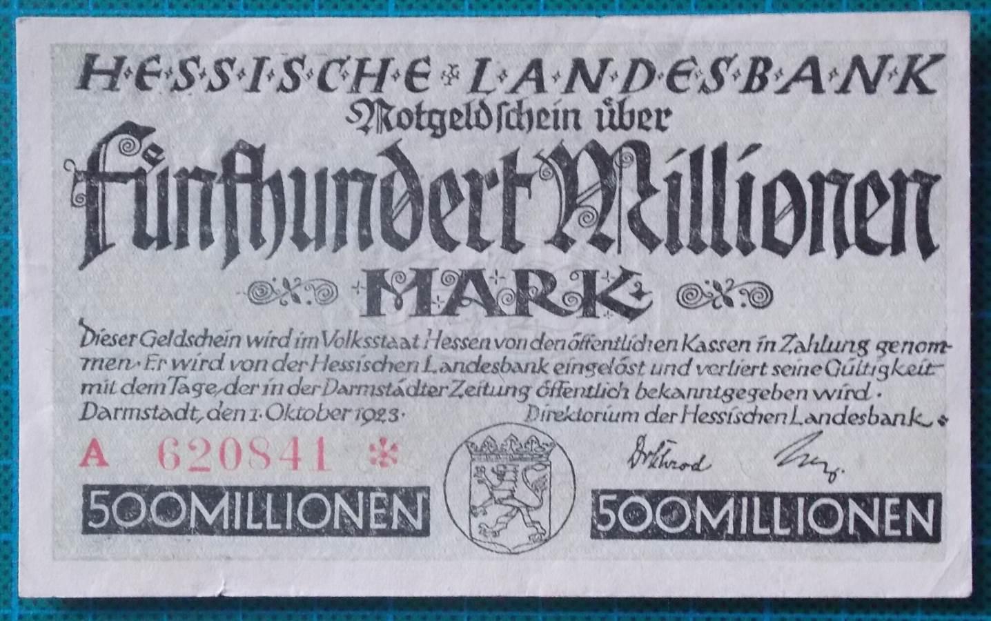 1923 HESSISCHE LANDESBANK 500 MILLION MARK A620841