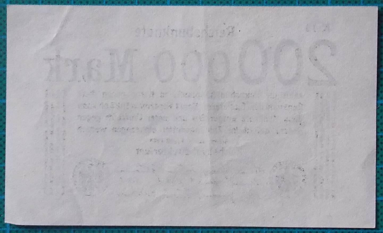 1923 REICHSBANKNOTE 200000 MARK