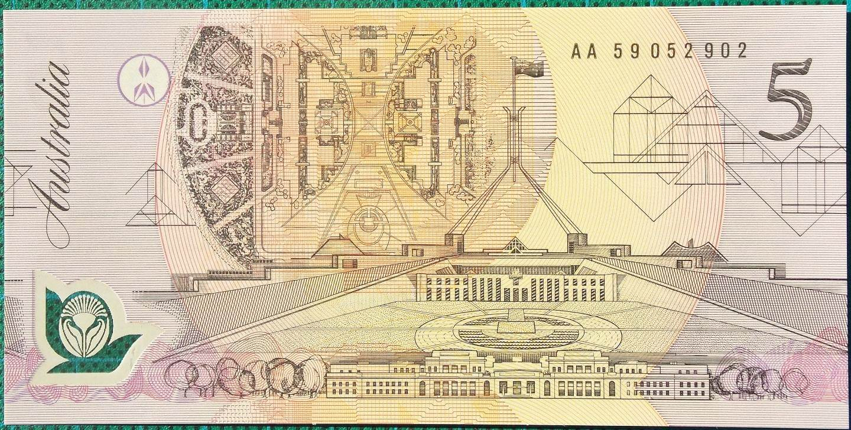 1992 Australia Five Dollars Polymer AA59