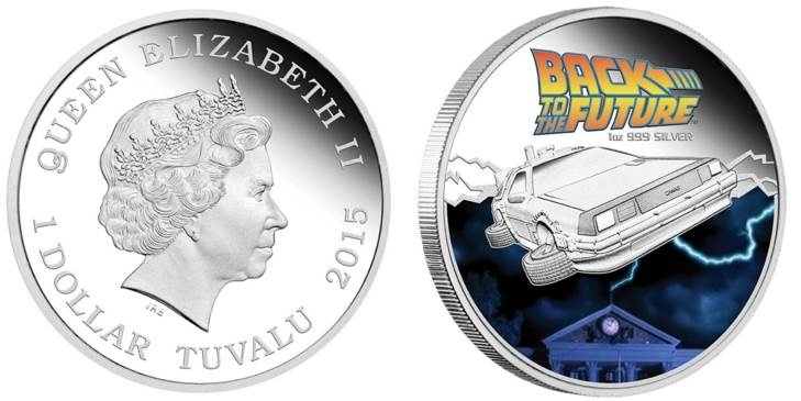 2015 Back To The Future proof 99.9% silver coin.