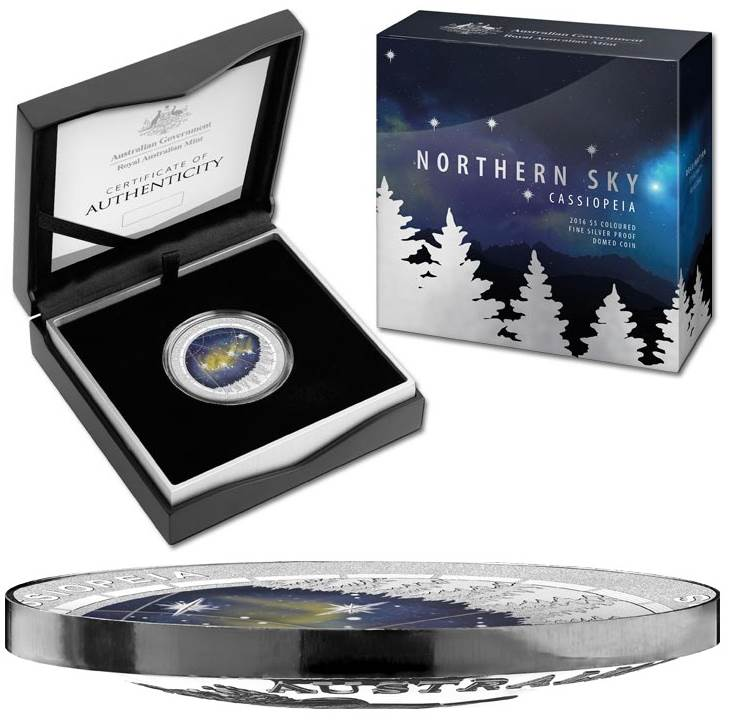 2016 Northern Sky Cassiopeia domed silver coin with packaging.