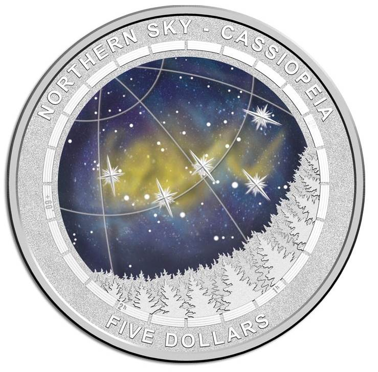 2016 Northern Sky Cassiopeia domed silver coin.