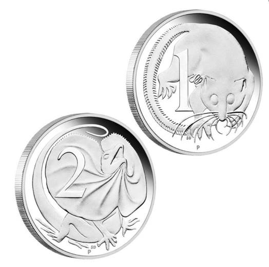 2016 silver proof coins based on the original one cent and two cent decimal coins from Australia.