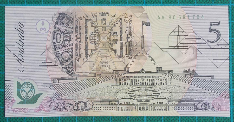 1992 Australia Five Dollars Polymer AA90-Pale Green Serial