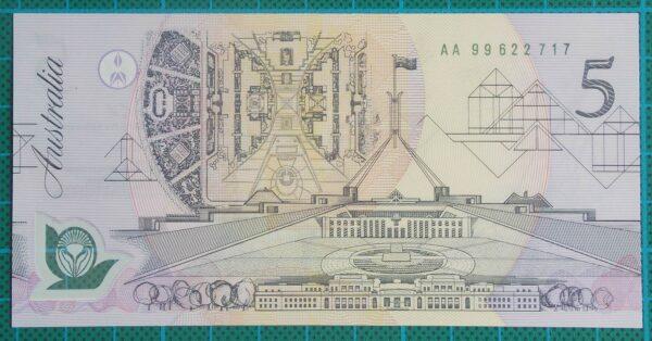 1992 Australia Five Dollars Polymer AA99-Pale Green Serial