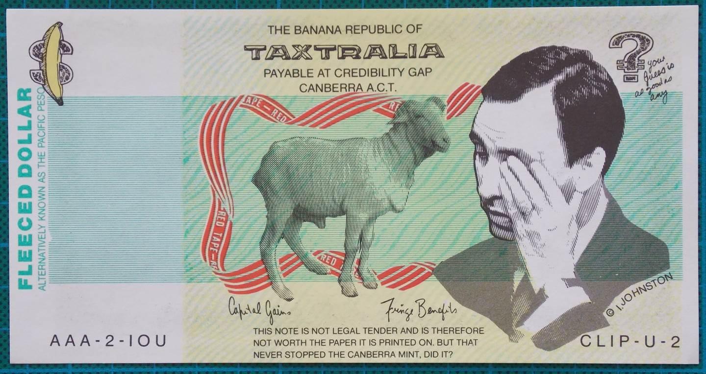 1991 Australian Paul Keating Taxtralia Fleeced Dollar