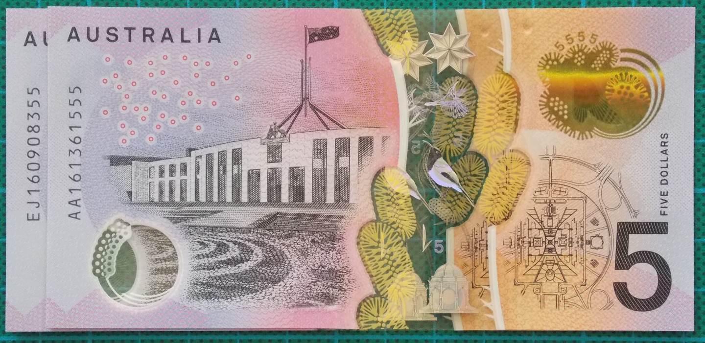 2016 Australia Five Dollars Next Generation First and Last Prefix AA-EJ -3
