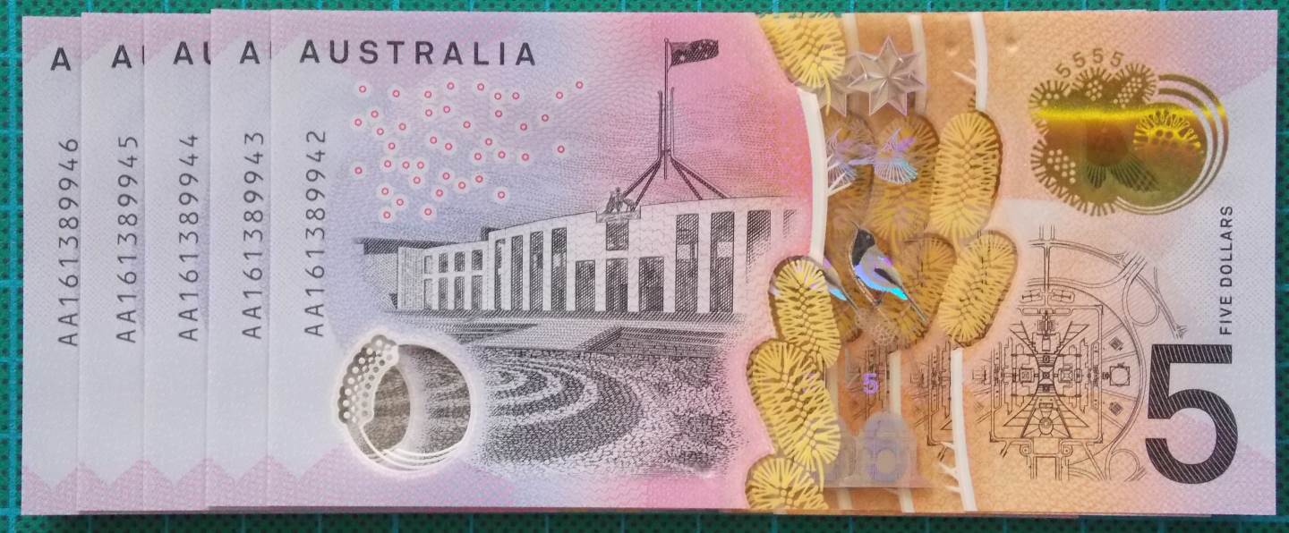 2016 Australia Five Dollars Next Generation First Prefix AA16 x 5 - 2