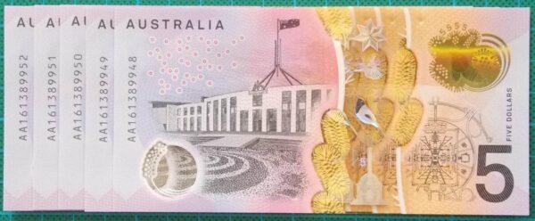 2016 Australia Five Dollars Next Generation First Prefix AA16 x 5 - 3