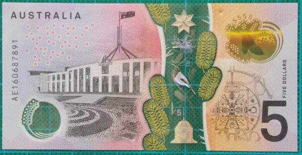 2016 Australia Five Dollars Next Generation Banknote AE16