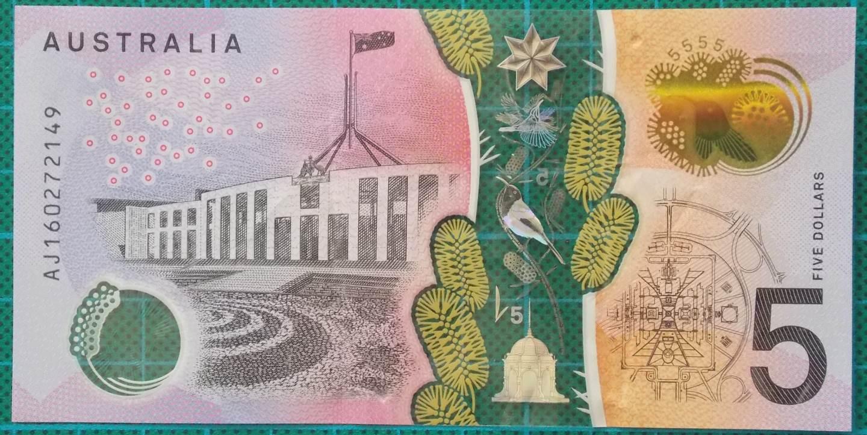 2016 Australia Five Dollars Next Generation Banknote AJ16