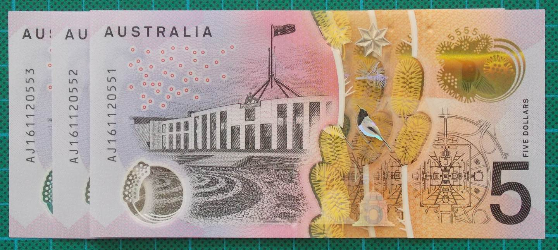 2016 Australia Five Dollars Next Generation Banknote AJ16x3