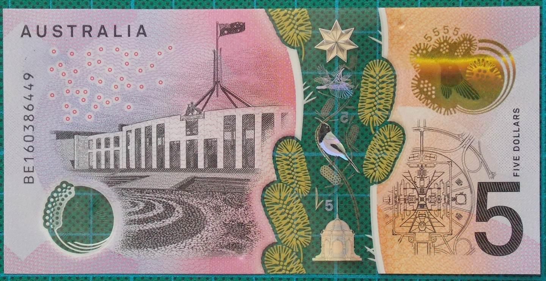 2016 Australia Five Dollars Next Generation Banknote BE16