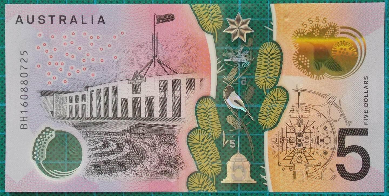 2016 Australia Five Dollars Next Generation Banknote BH16