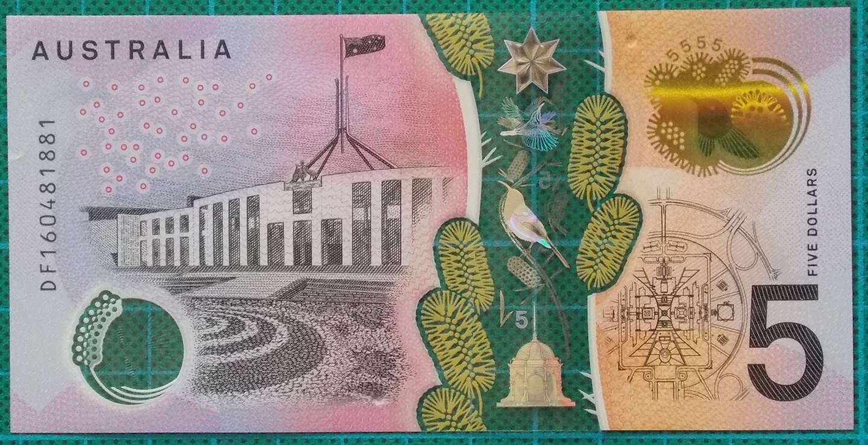 2016 Australia Five Dollars Next Generation Banknote DF16