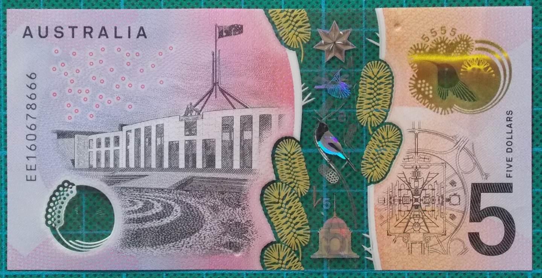 2016 Australia Five Dollars Next Generation Banknote EE16