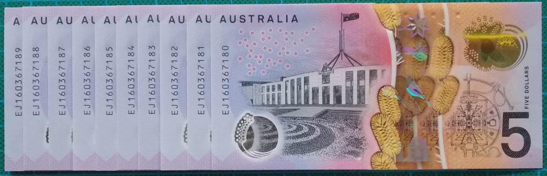 2016 Australia Five Dollars Next Generation Last Prefix EJ16 x 10