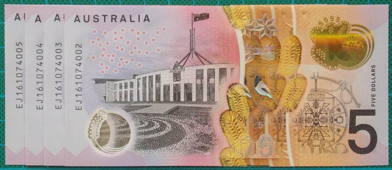 2016 Australia Five Dollars Next Generation Last Prefix EJ16 x 4