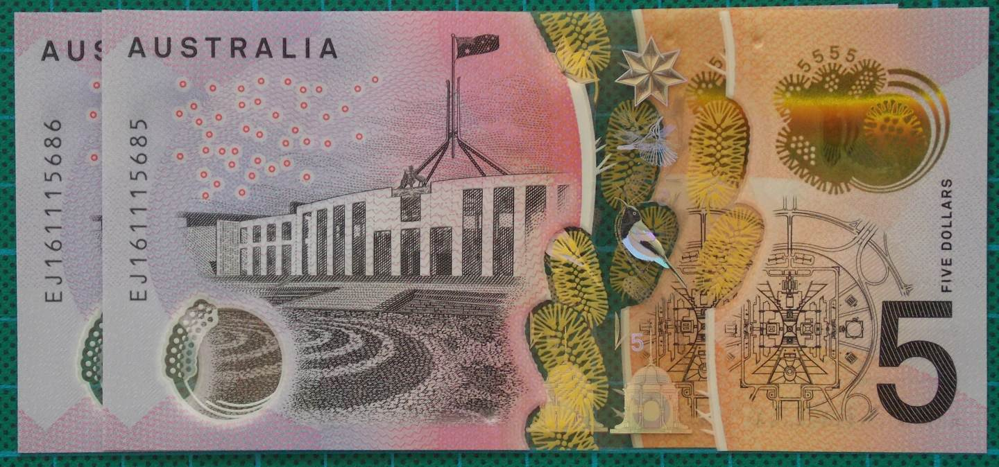 2016 Australia Five Dollars Next Generation Last Prefix EJ16 x 2