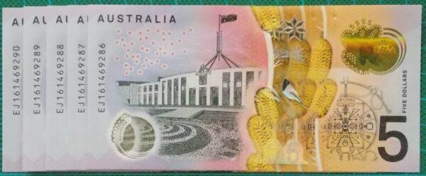 2016 Australia Five Dollars Next Generation Last Prefix EJ16 x 5