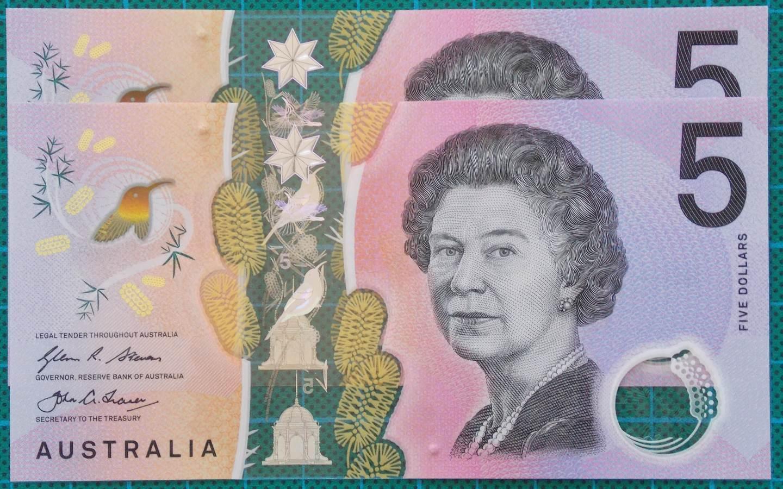 2016 Australia Five Dollars Next Generation First and Last Prefix AA-EJ -1