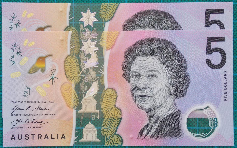 2016 Australia Five Dollars Next Generation First and Last Prefix AA-EJ -2
