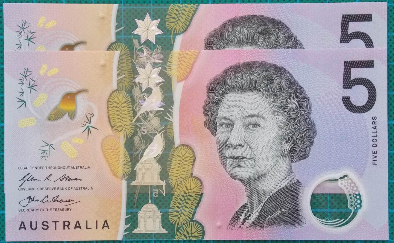 2016 Australia Five Dollars Next Generation First and Last Prefix AA-EJ -5