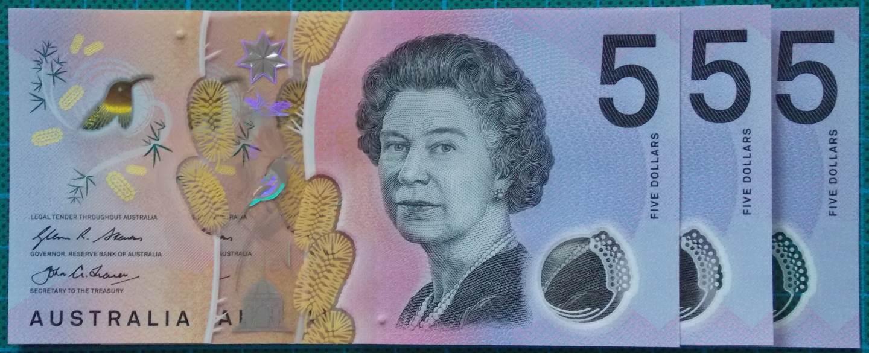2016 Australia Five Dollars Next Generation Last Prefix EJ16 x 3