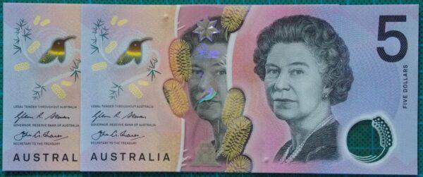 2016 Australia Five Dollars Next Generation Last Prefix EJ16 x 2