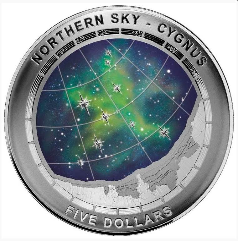 2016 Northern Sky Cygnus $5 Silver Domed Coin