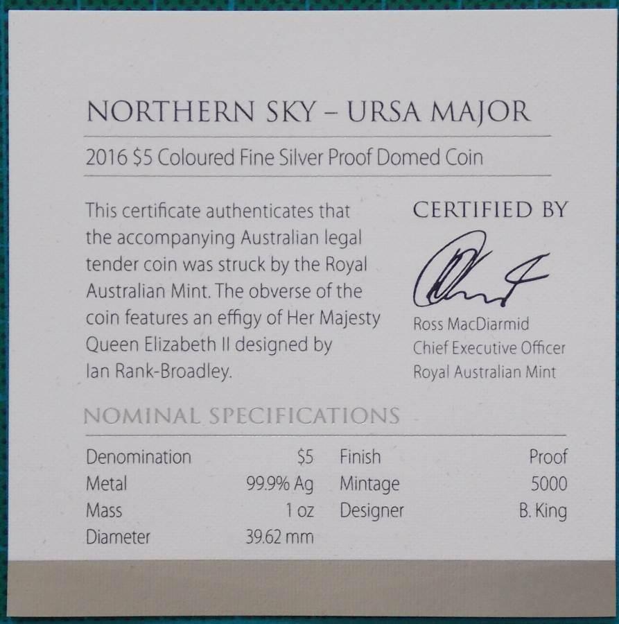 2016 Northern Sky Ursa Major $5 Silver Domed Coin