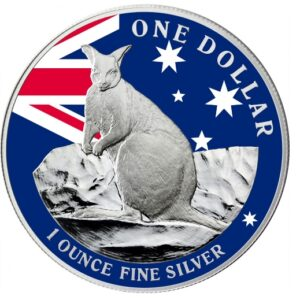 2012 Mareeba Rock Wallaby Silver 1 oz Proof Coin Colourised